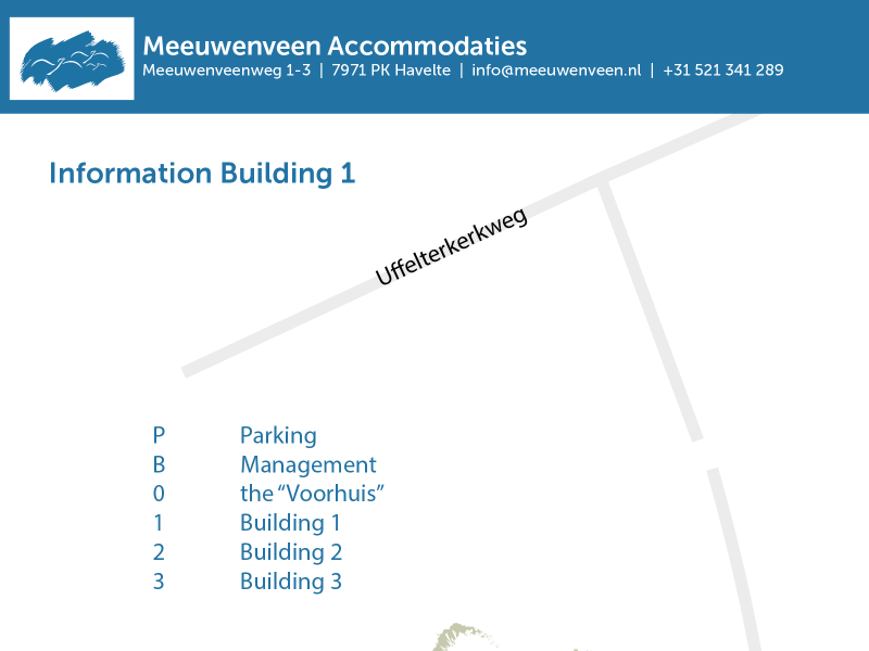 Meeuwenveen Accommodations Floor Map Building 1
