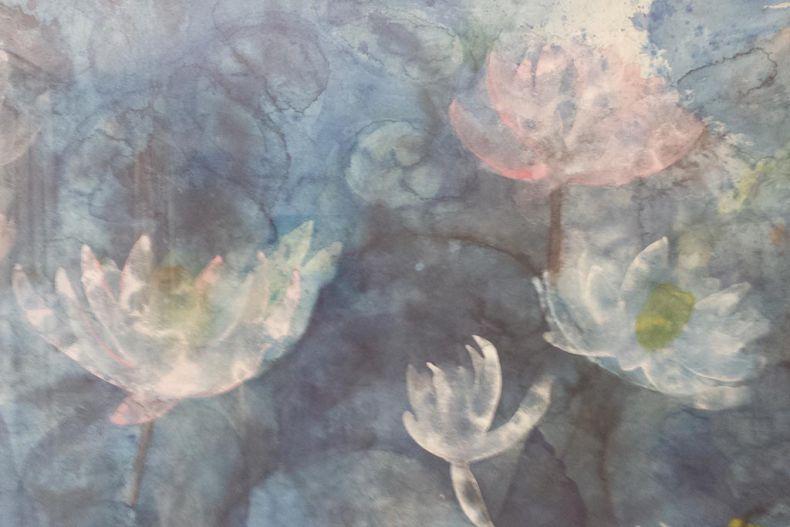Schilderij 'Vijver Poena' gebouw C door Abilasha (detail)