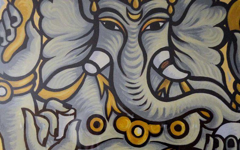 Schilderij 'Ganesh' hal gebouw B door Marije Oostindie
